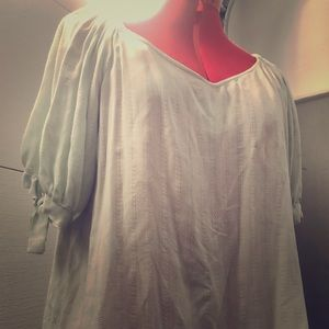 Mint green wide neck summer blouse